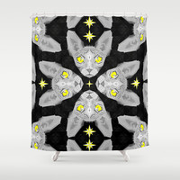 Sphynx Cat Black Pattern Shower Curtain by chobopop