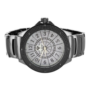 Bold Black Finish Mens Ice Mania Classy Diamond Watch