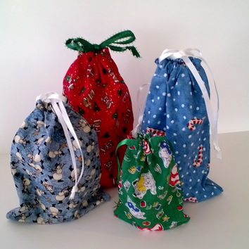 4 Fabric Gift Bags for Kid's Christmas Upcycled, Reusable