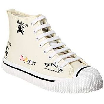 BURBERRY Archive Logo High-Top Sneaker, 37, White