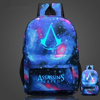 Free Shipping High Quality Lumious Assassins Creed Backpack Hot Game Boy Girl School Bags For Teenagers Oxford Backpacks