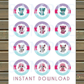 Instant Download - Beanie Boo Cupcake Toppers - JPG and PDF