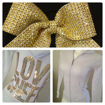 Gold & White Love Cheer Jacket and Rhinestone Cheer Bow Gift Set