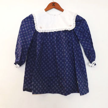 Vintage Girl's Little Evie Size 6 Kids Blue Floral Cotton Party Dress Flower Girl Eyelet Lace Dress up Easter Dress Gown Toddler Victorian