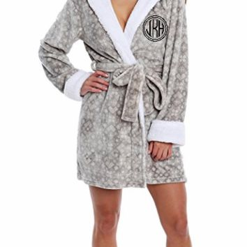 Plus Size Ladies Hooded Plush Robe with Glitter Monogram