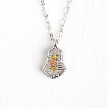 Vintage Art Deco Filigree Children's Necklace - White, Rose, & Yellow Tone 1930s Floral Children's Baby Dainty Petite Three Tone Jewelry