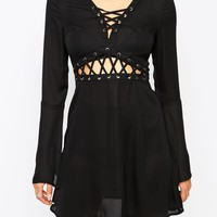 Missguided Lace Up Cut Out Skater Dress