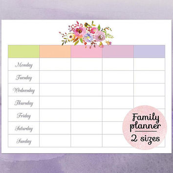 Family calendar planner 2018, Printable family wall calendar, Blank weekly calendar printable, Cute floral weekly family schedule template