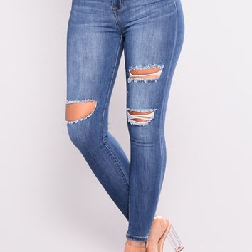 Rock With Me Ankle Jeans - Medium Blue Wash
