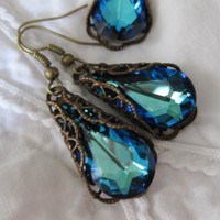 Blue Earrings Victoria Bermuda Blue in Chocolate Patina - Vivian Feiler Designs | Wedding Jewelry |