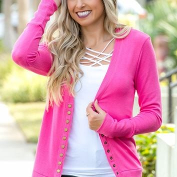 True Colors Hot Pink Snap Cardigan Shop Simply Me Boutique Shop SMB – Simply Me Boutique