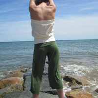 Yoga Gouchos with Foldover Waistband in Olive or Black Bamboo Jersey Knit - Made to Order