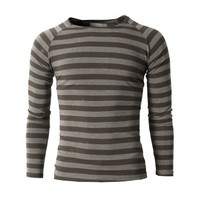 Doublju Men's Basic Crewneck Striped Raglan T-shirts of Long Sleeve (KMTTL059)