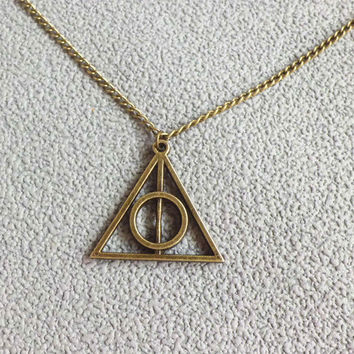 Harry potter Deathly Hallows Necklace-bronze charm Necklace
