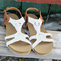 GROOVE  Worth It Cream Crochet Hippie Sandals