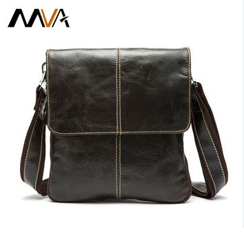 MVA Genuine Leather Men Bag Fashion Crossbody Leather Bag Men Messenger Bags Casual Shoulder Designer Handbags Man Bags 2017 NEW