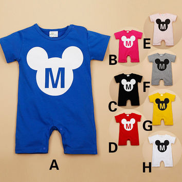 Summer Newborn Baby Girls Boys Mickey Boxer Rompers Infant Short Sleeve Jumpsuit Clothes Baby Toddlers Climb Clothing Costumes
