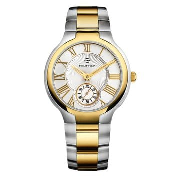 Philip Stein Classic White & Yellow Gold Dial Round Watch