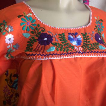 Mexican Tehuacan Embroidered Blouse Orange