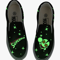 Glow In The Dark Superman Painted Sneakers In Black