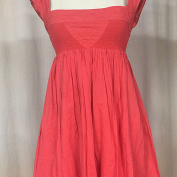 Anthropologie Maeve Supreme Grace Dress 0 XS boho babydoll smocked Coral cotton empire