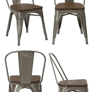 Industrial Wood Antique Gun Metal Rustic Distress Dining Chairs, Set of 4