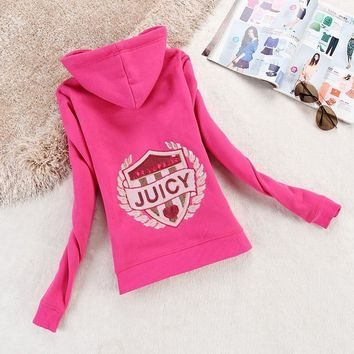 Juicy Couture Logo Sequin Velour Jacket 2199 Women Hoody Rose - Ready Stock
