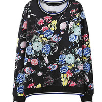Black Floral Print Long Sleeve Sweatshirt