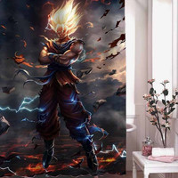 son goku super saiya shower curtain adorabel batheroom hane made