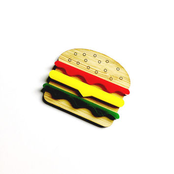 Burger Brooch - Wood and Acrylic, Lasercut Accessories, Burger Pin, Burger Jewelry, Fast Food Jewellery, Colourful, Creative