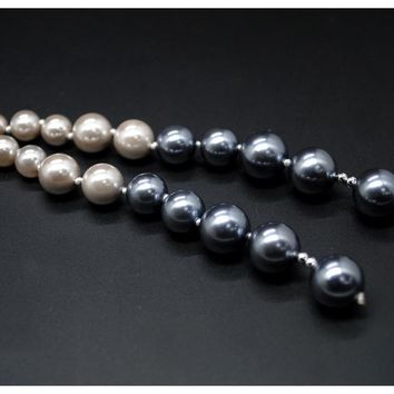 Luxury Two Rope Tassel White or Gray Black Pearl Long Necklace