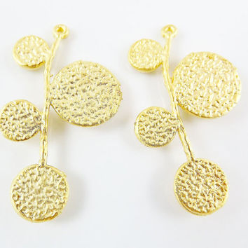 2 Textured Circle Branch Pendant Connector - 22k Matte Gold Plated