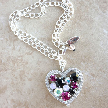 Big Swarovski crystal heart pendant necklace, fuchsia opal black, not sabika