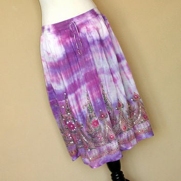 Purple Tie Dye Gypsy Skirt: Knee Length Skirt, Boho Indian Midi Hippie Skirt or Sequin Cover Up