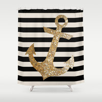 GOLD GLITTER ANCHOR IN BLACK AND NUDE Shower Curtain by Colorstudio