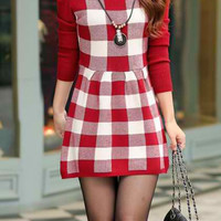 Red Knitted Long Sleeve Skater Dress
