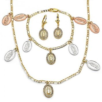 Gold Layered 06.253.0002 Necklace, Bracelet and Earring, Guadalupe and Dolphin Design, with White Crystal, Polished Finish, Tri Tone