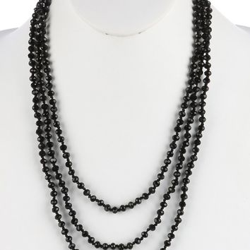 Black Iridescent Glass Bead Extra Long Wraparound Necklace