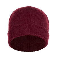 Deep Red Ribbed Beanie