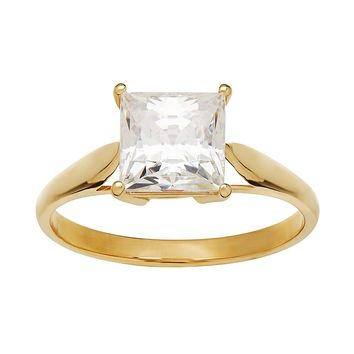 Emotions Cubic Zirconia 10k Gold Solitaire Ring - Made with Swarovski Cubic Zirconia (White)