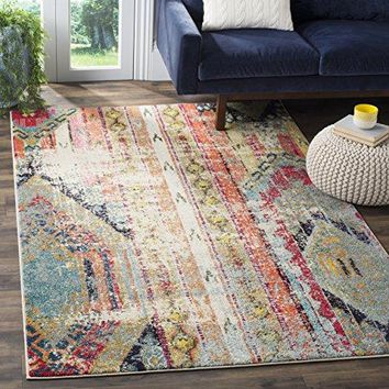 Safavieh Monaco Collection MNC222F Modern Bohemian Multicolored Distressed Area Rug (3' x 5')