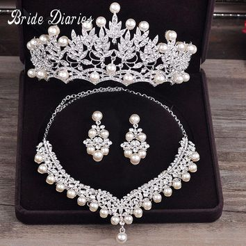 Bride Diaries Costume jewelery sets New Design Pearl Bride 3pcs Set Necklace Earrings Tiara Bridal Women Wedding Jewelry Set