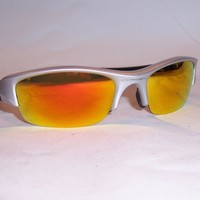 New Oakley Sunglasses FLAK JACKET 03-884 SILVER/FIRE MIRROR AUTHENTIC