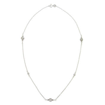 Sterling Silver CZ Round Station Necklace, 18-inch