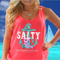 Southern Attitude Preppy Anchor Flowers Neon Coral Tank Top