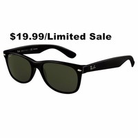 $19.99 - 3 Days Limited! Ray Ban RB2132 901/58 Wayfarer Black/G-15 XLT Polarized 55mm/52mm Sunglasses