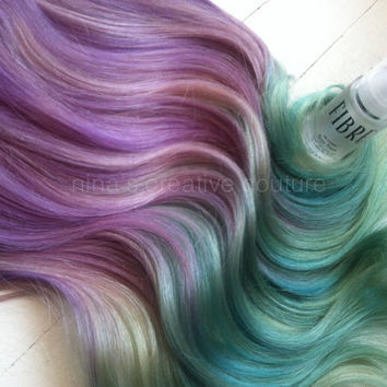 "Ombre Hair Extensions, Festival Hair, Hair Extensions, Burning Man, Lavender and Icy Blue Green, 22"", 7 Pieces, 100 grams"