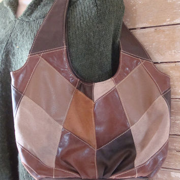 Vintage Patch Brown Leather an Suede Purse Retro Hippie 1970's