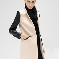 Faux Sleeve Stitching Stand Collar Wool Coat