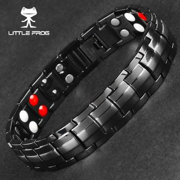 LITTLE FROG Punk Healthy Energy Bracelet Men Black Chain Link Bangle Stainless Steel Magnetic Bracelets